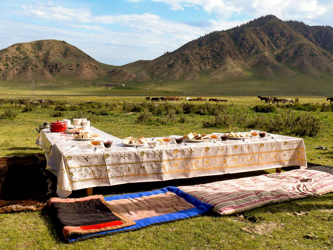 Table for breakfast in the mountains central Asia