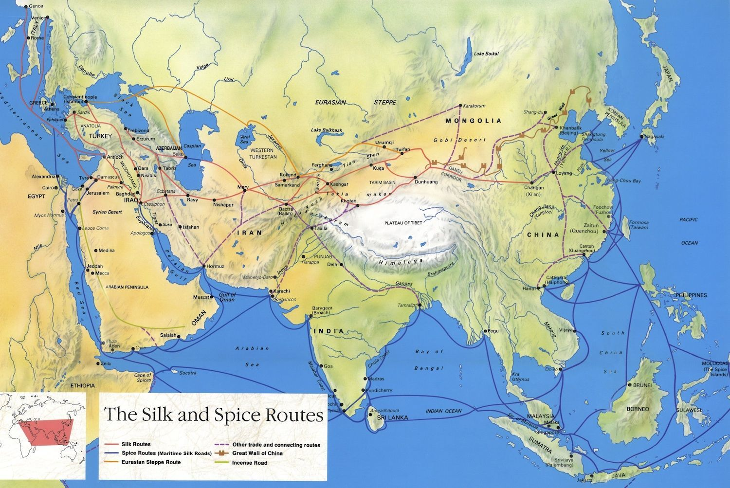 Silk Road map, Central Asia