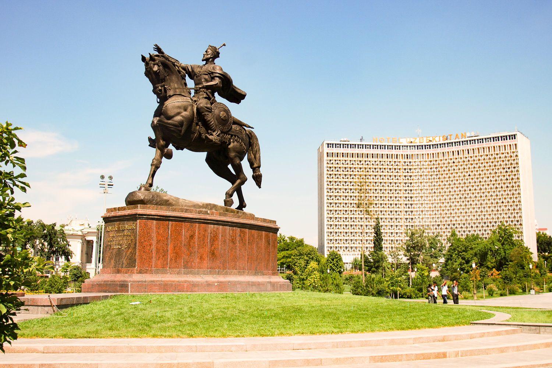 Statue Temirlan in Tashkent during Uzbekistan Tour