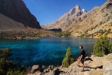 Tajikistan trekking at Alovaddin lake