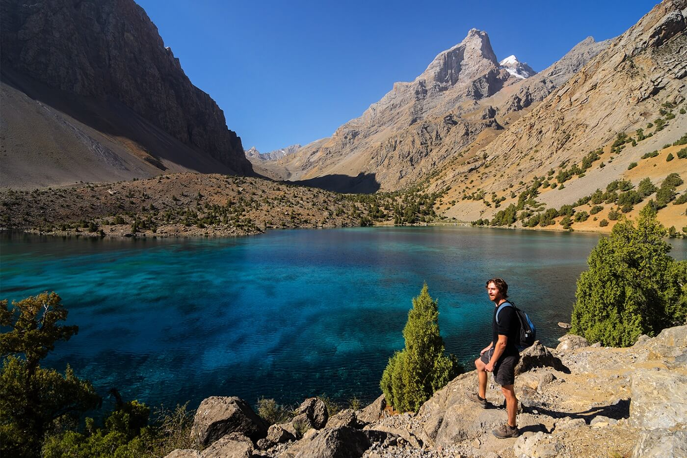 Tajikistan trekking at Alovaddin lake