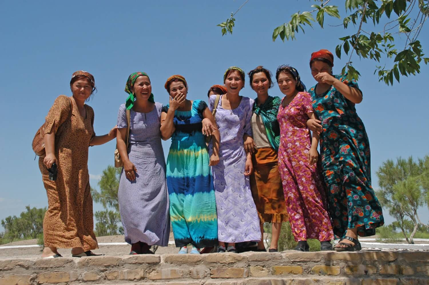 Turkmen women in traditional dresses