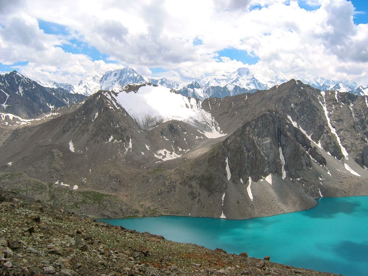 Ala Kul mountain lake in Kyrgyzstan