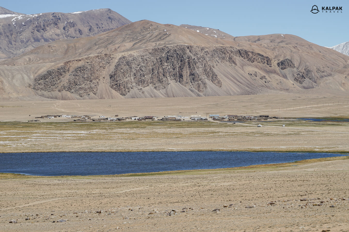 Pamir Highway village called Bulunkul at the lakeside