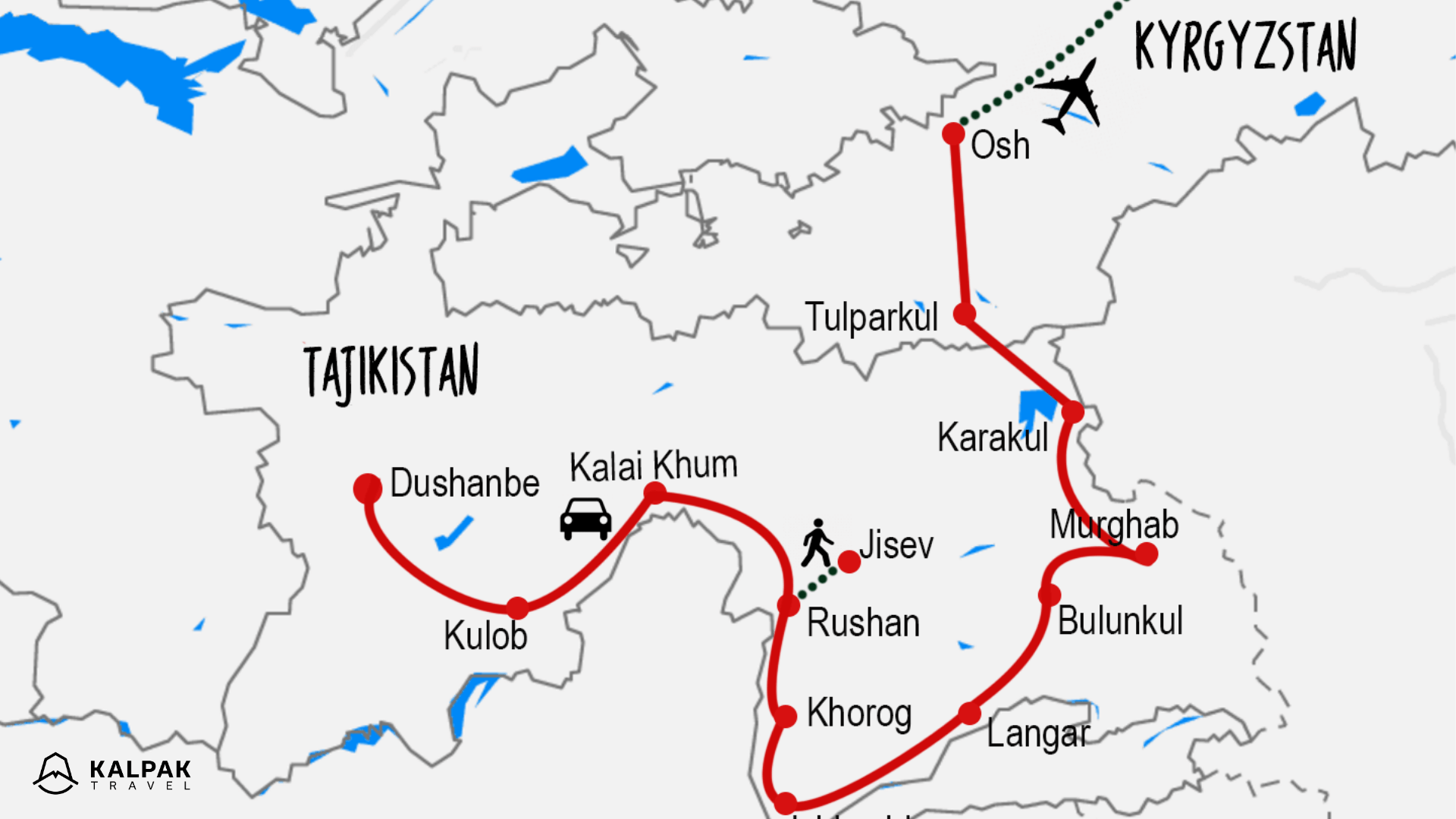 Pamir Highway map on the example of the tour