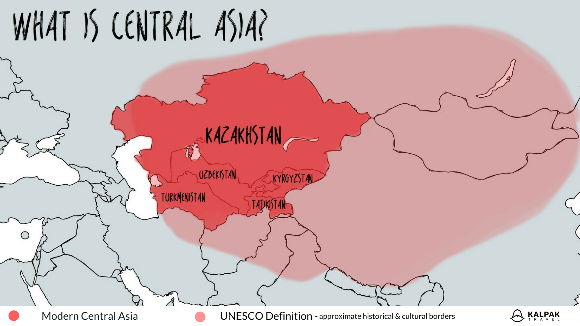 Central Asia map with modern definition borders and historical -cultural definition of UNESCO