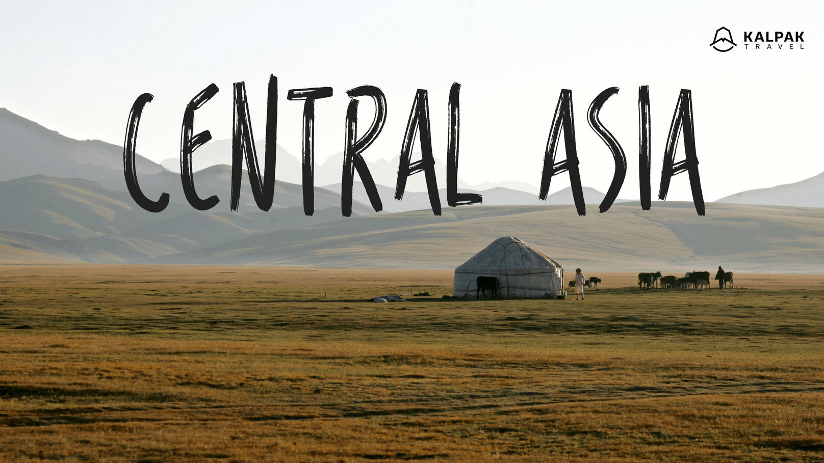 Central Asia caption on a landscape photo with a yurt