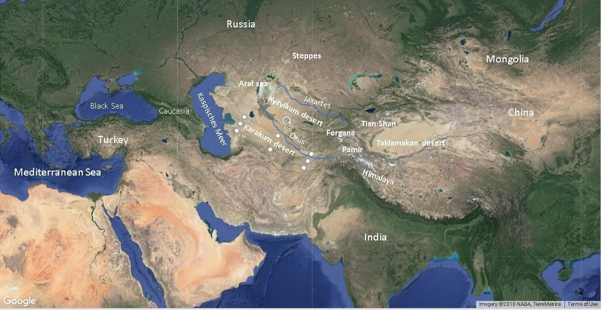 Geography of Central Asia map, landscape