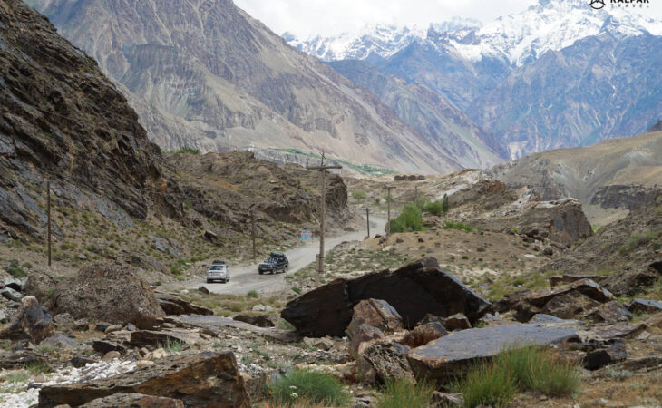 Driving in the mountains on Pamir Highway