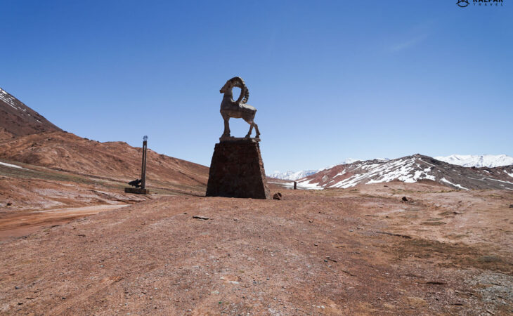 Pamir Highway Kyzart Pass with goat statue