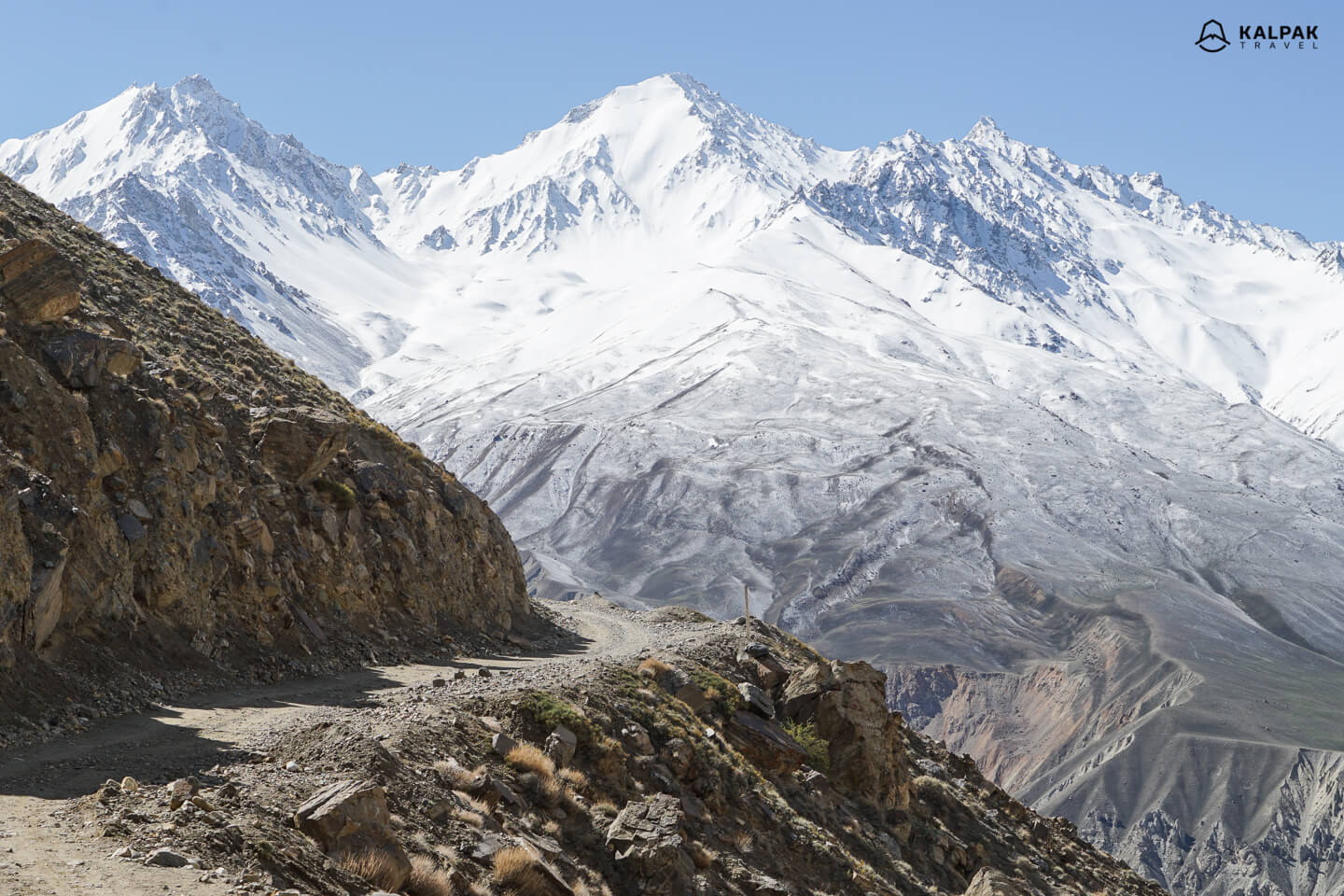 Scenic view on Pamir Highway drive