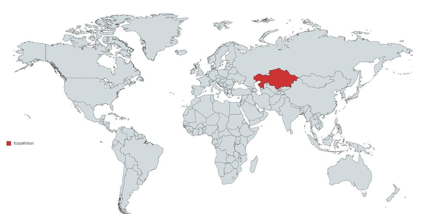 Kazakhstan on the world map