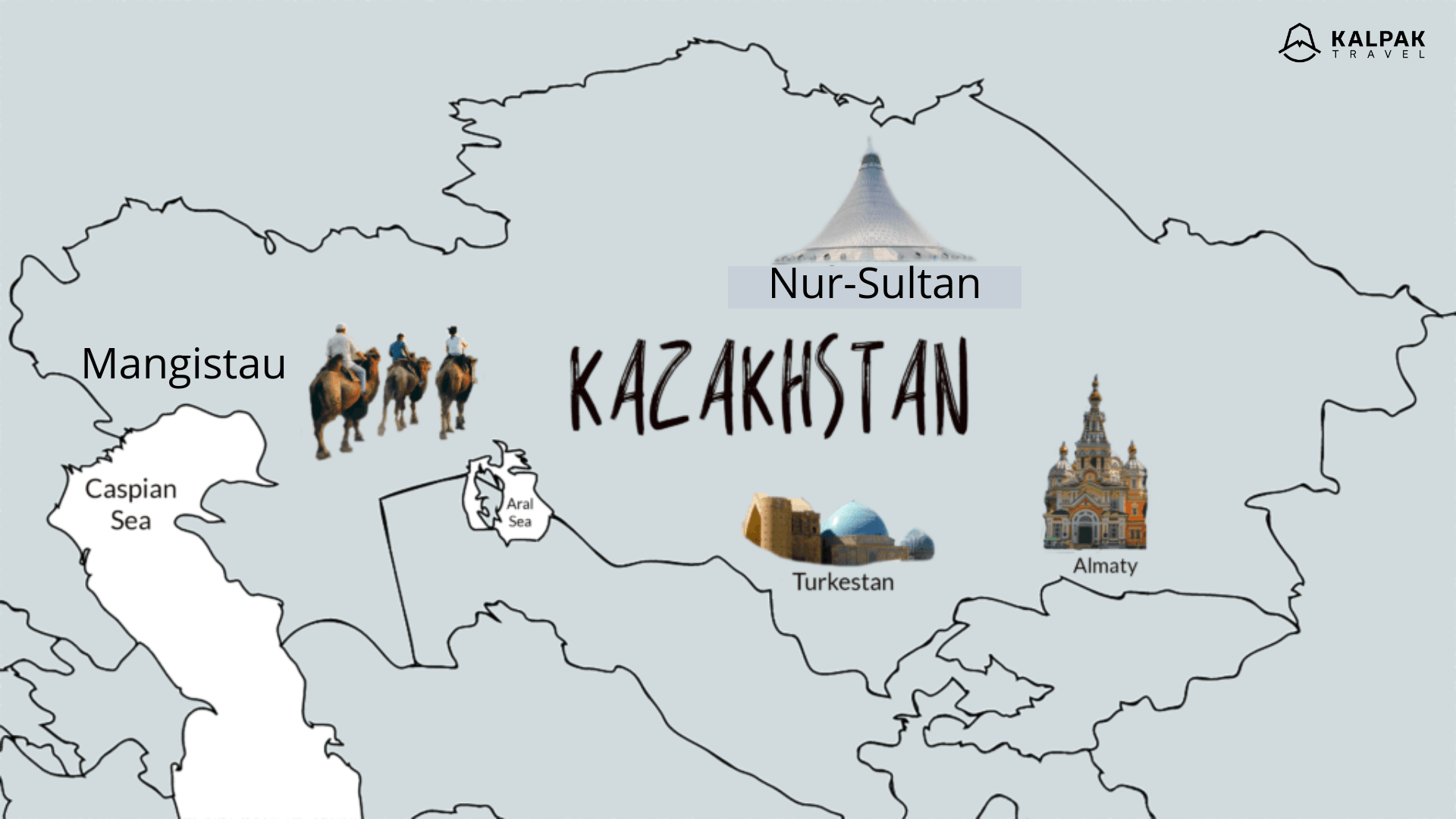 Kazakhstan travel map with highlight images