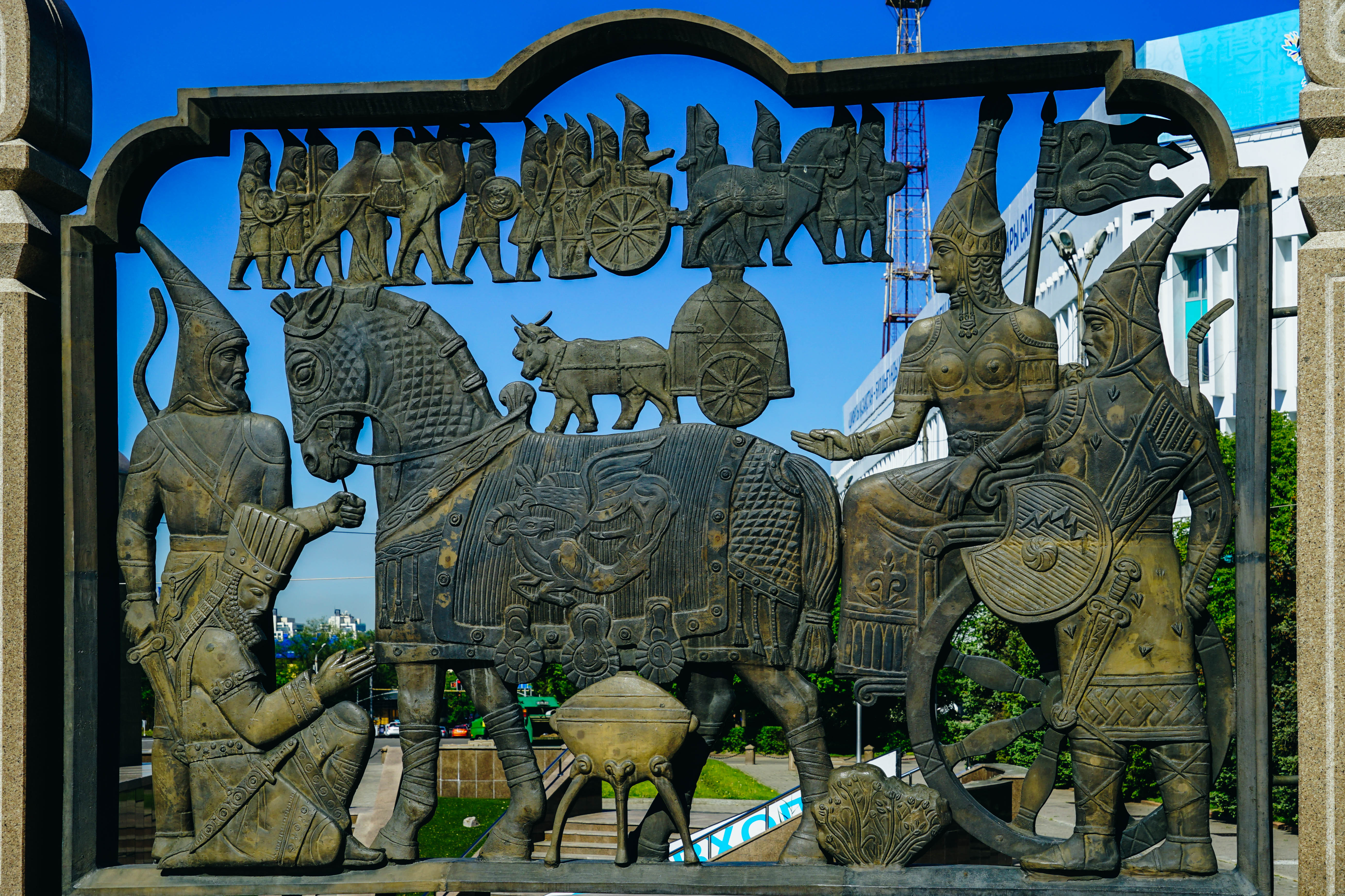 Almaty history depiction on the main square of the city