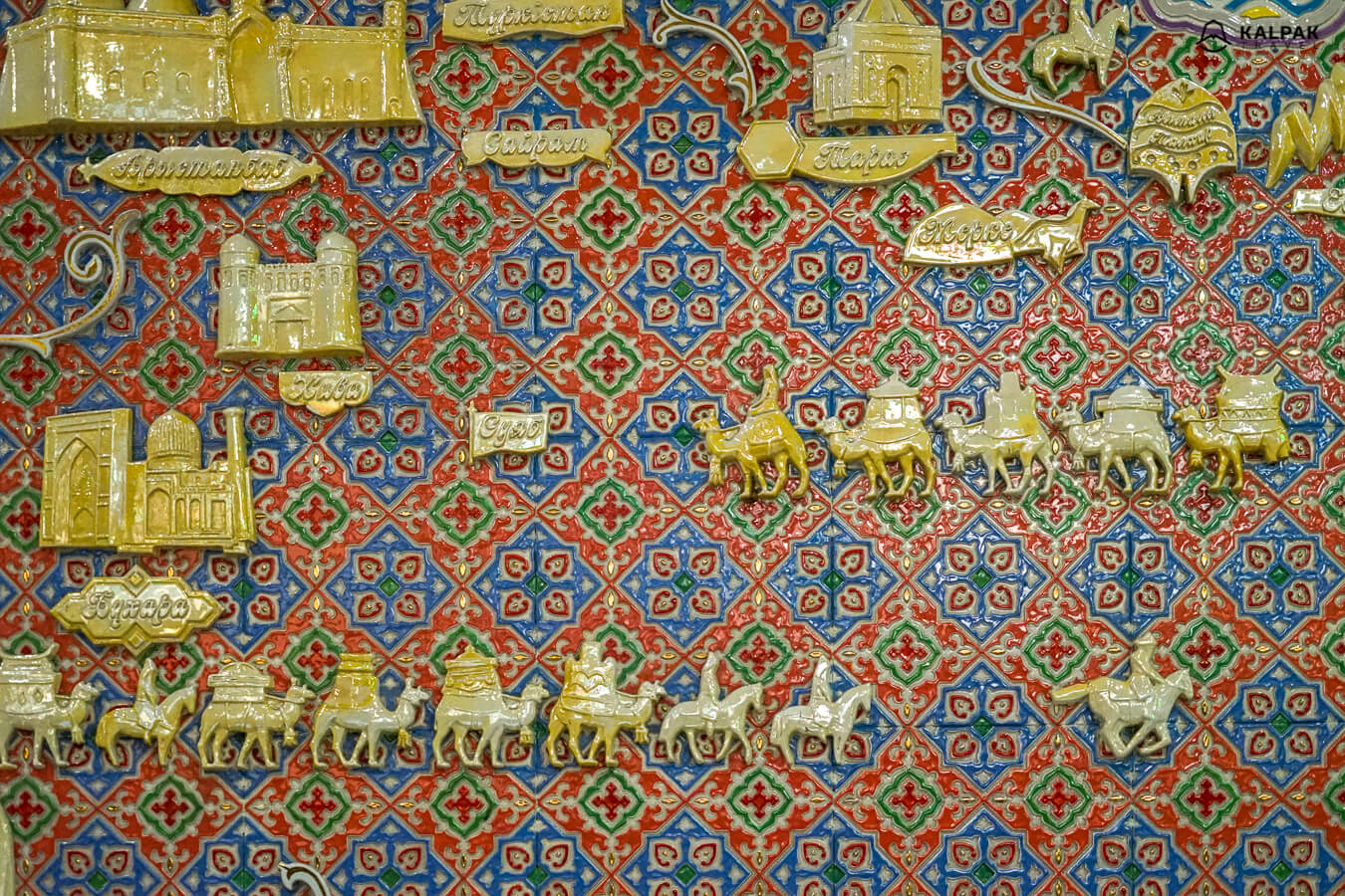 metro decoration of Almaty with Silk Road map