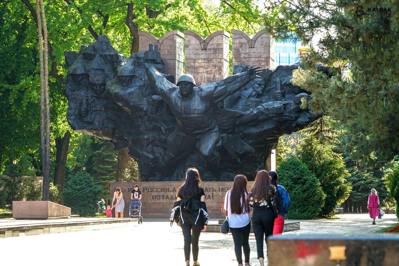 Almaty statue in Panfilov Park