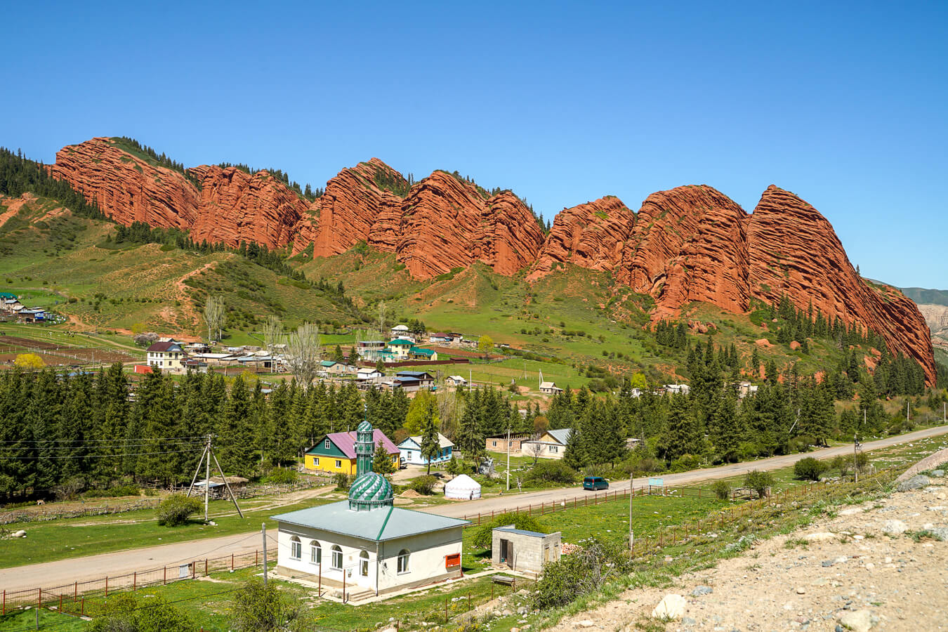 Djeti Oguz valley with red rock cliffs in Kyrgyzstan