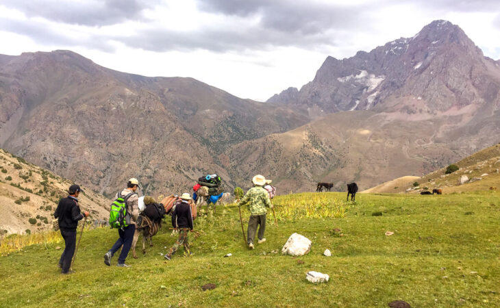 people trekking in Tajikistan