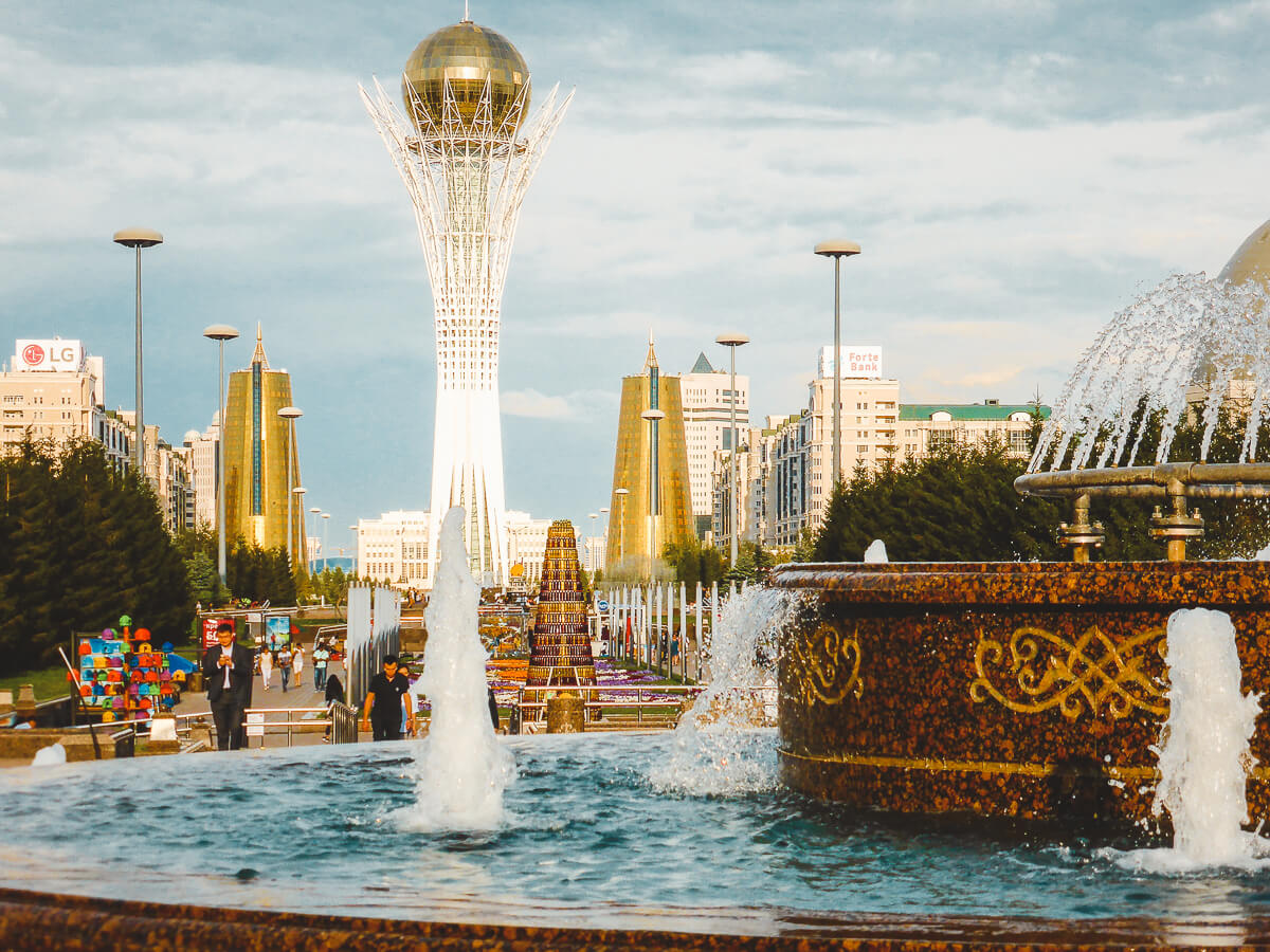 Nursultan or former Astana city in Kazakhstan