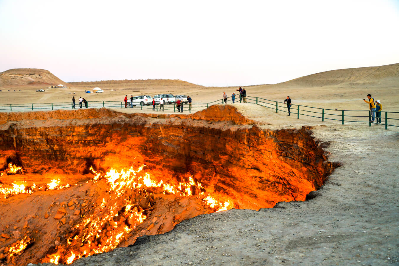 Turkmenistan burning gas crater Darvaza
