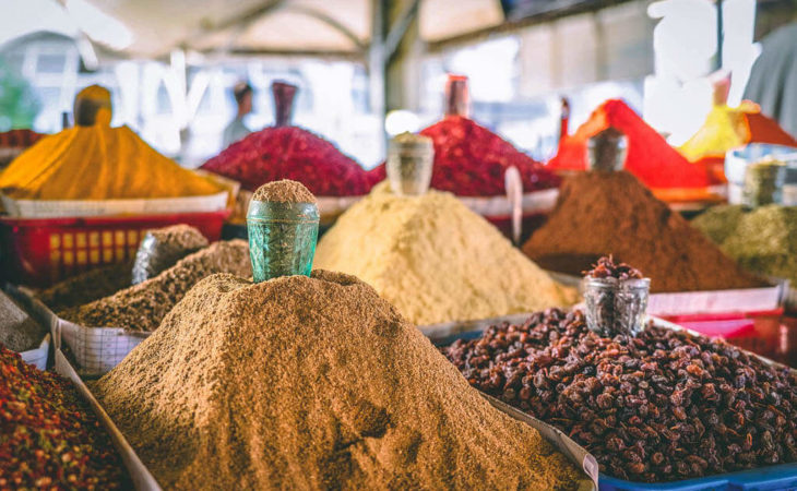 Central Asia spices in bazaar
