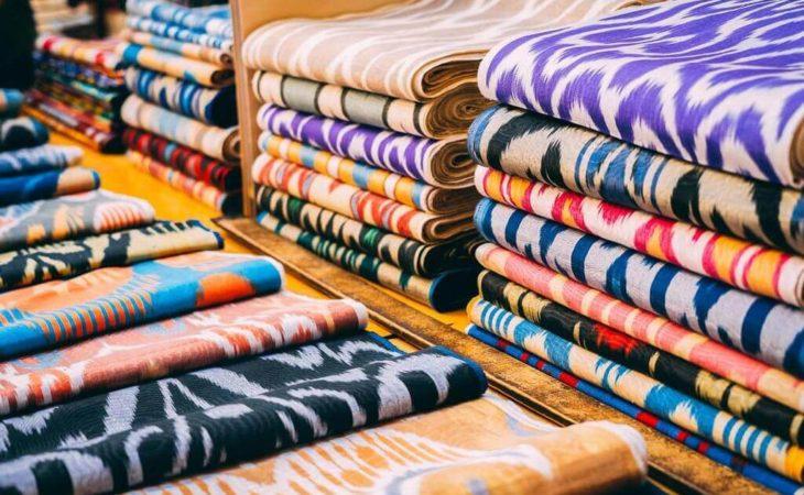 Central Asia tour silk in markets
