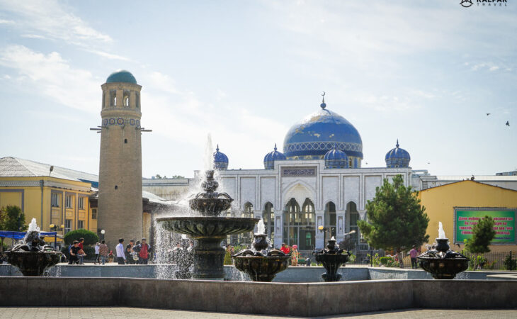 Khujand city center with mosque view