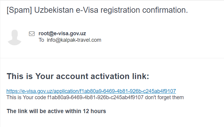 Visa Uzbekistan notification