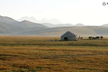 Song Kul pasture with yurts in Kyrgyzstan in Central Asia