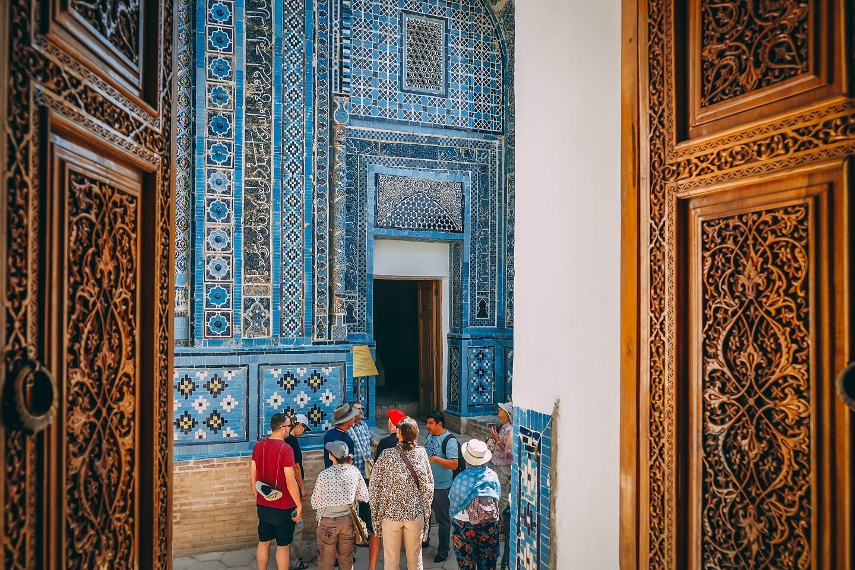 Shahizinda full of tourists in Samarkand, Uzbekistan