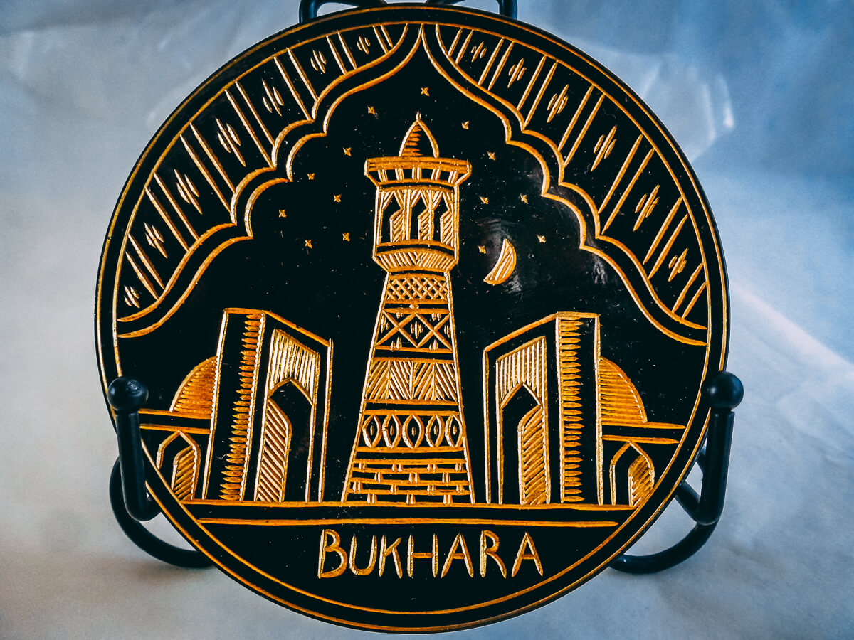 Metal handicrafted plate from Bukhara