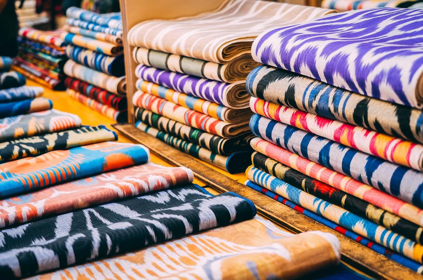 Ikat fabrics in Uzbekistan market