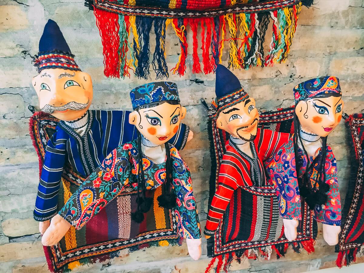 Handmade puppets from paper in Bukhara