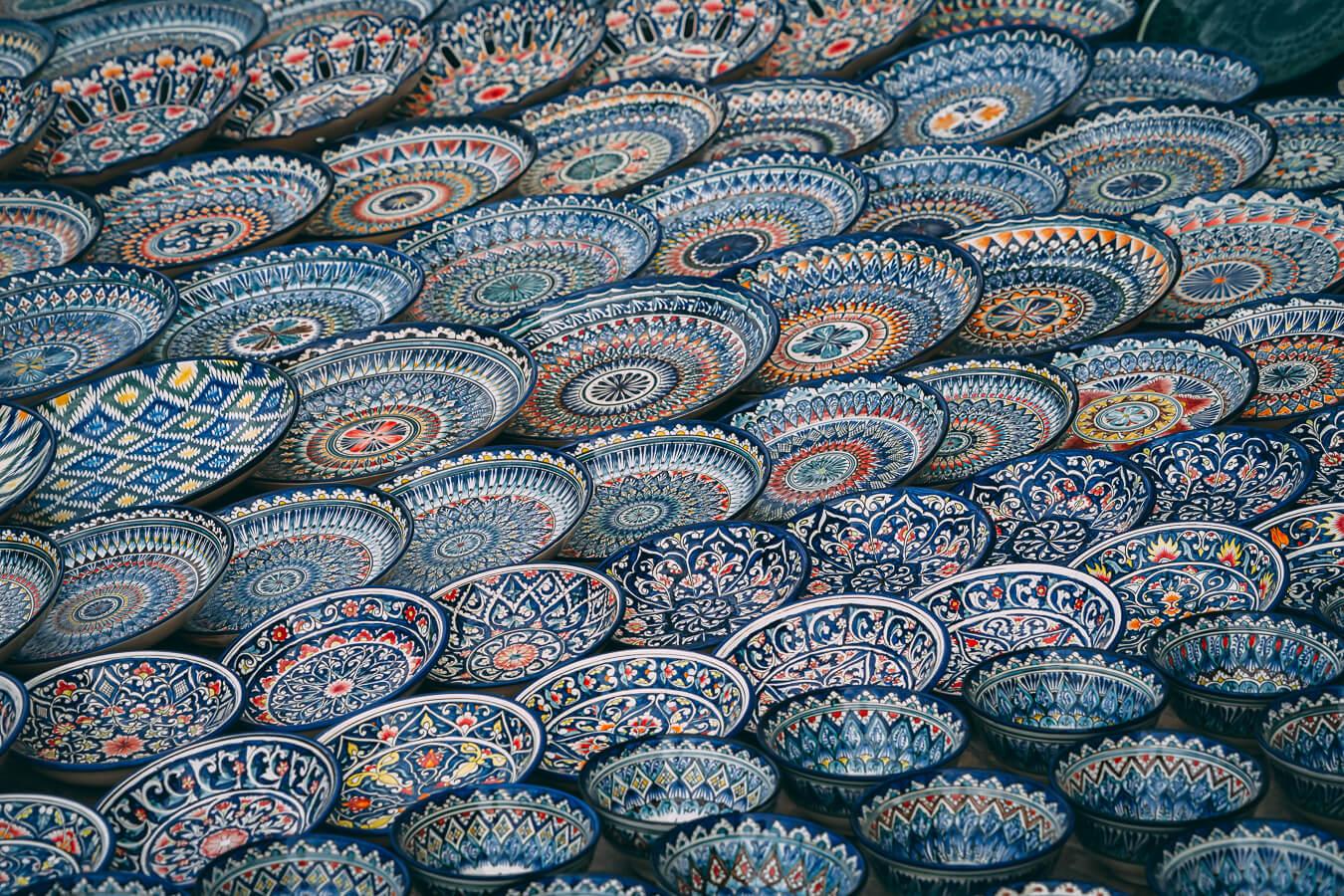 Uzbekistan ceramic colorful plates