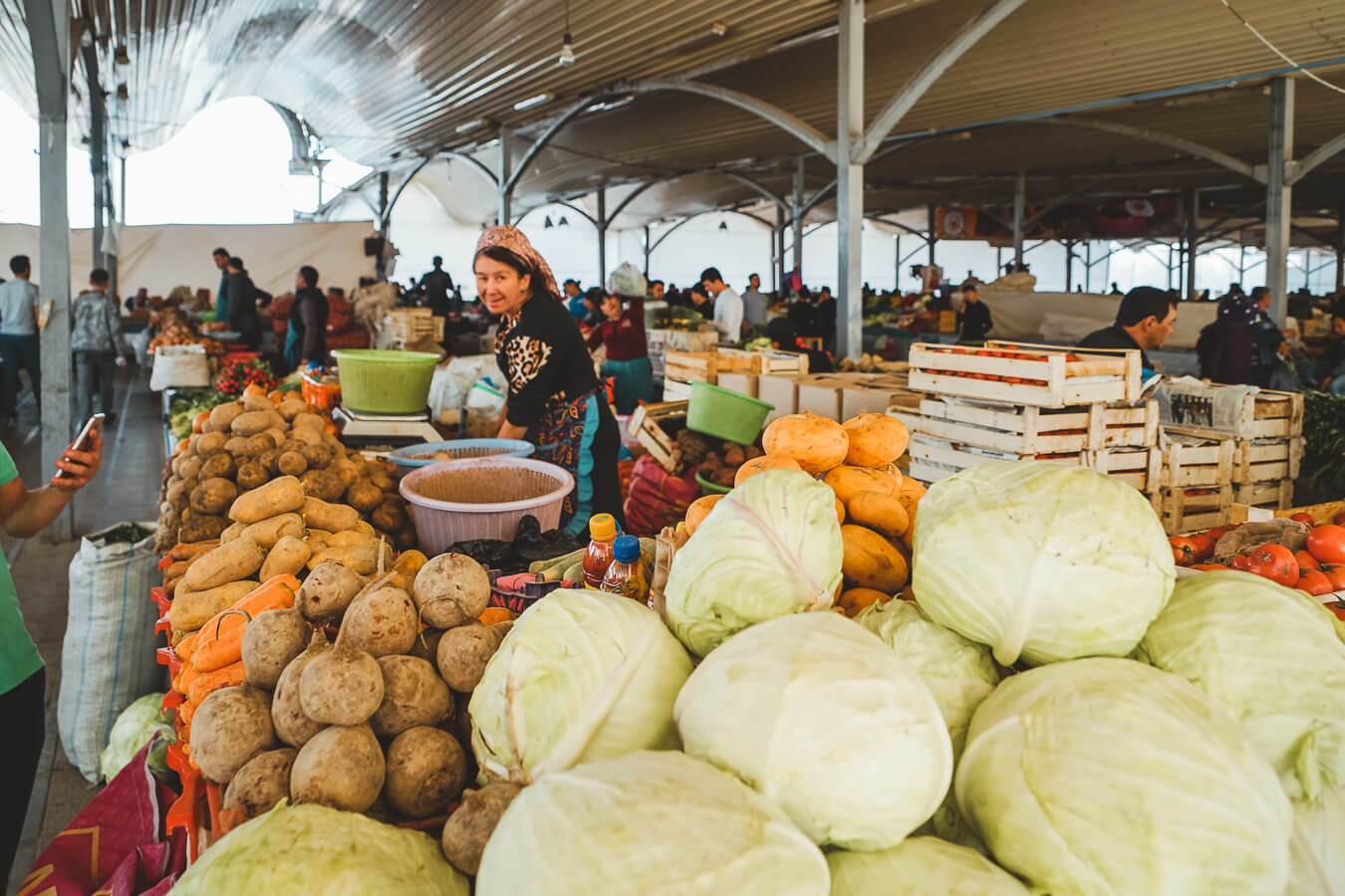vegetable bazaar in Uzbekistan