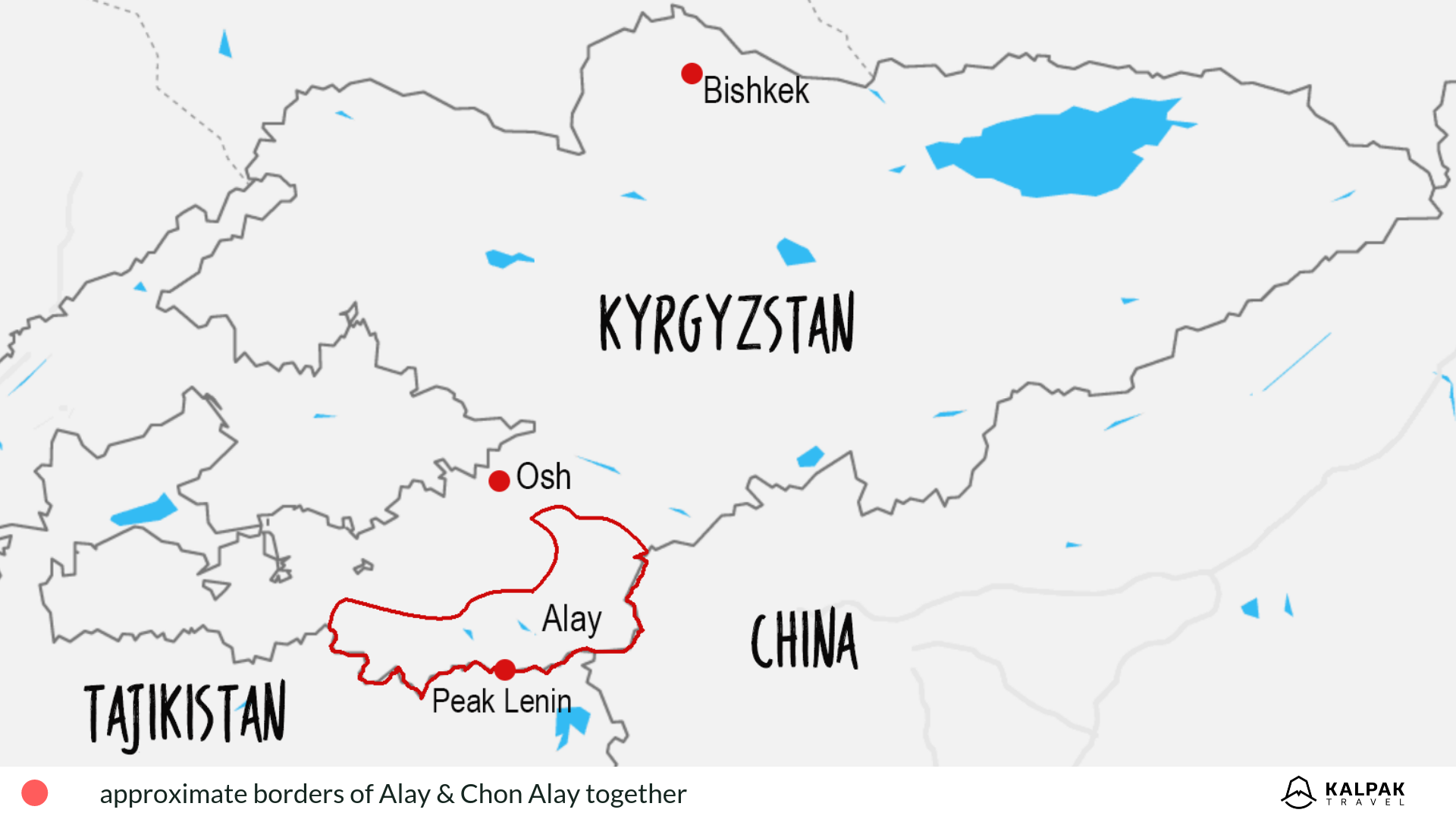Map of Alay in Kyrgyzstan