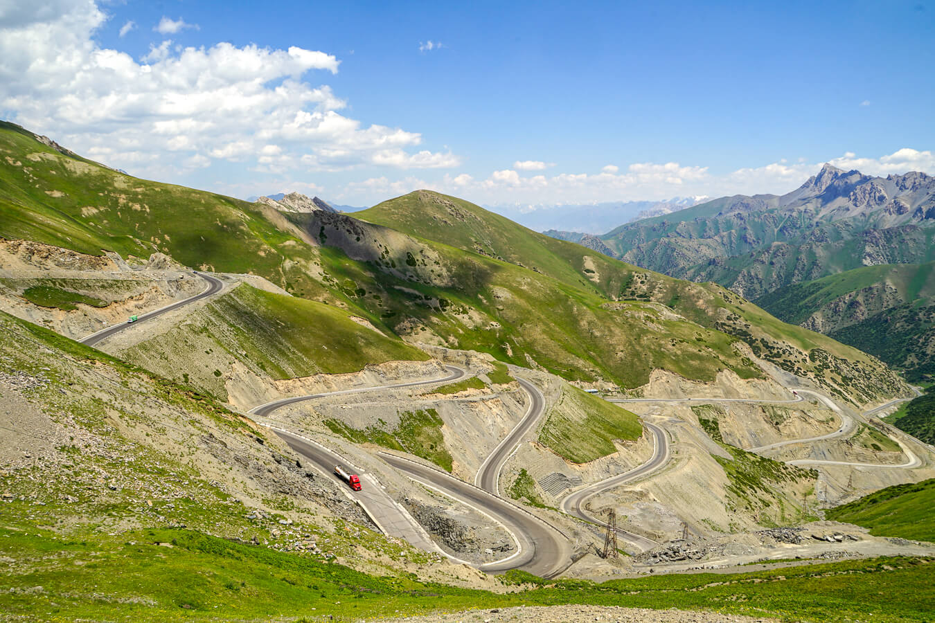 Taldyk Pass with serpantine road in southern Kyrgyzstan