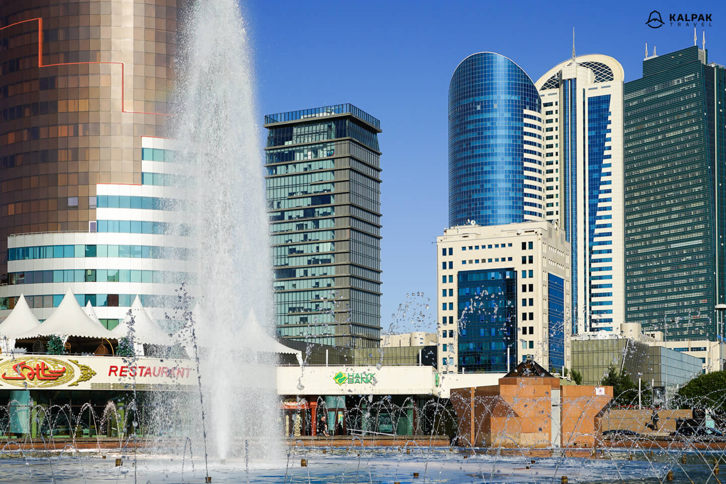 Skyscrapers with fountain in Nur-Sultan