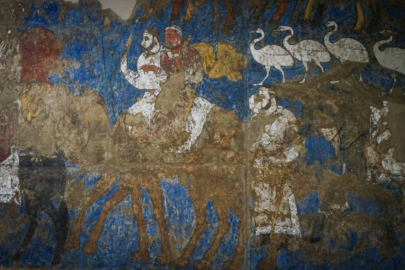 Sogdians of Central Asia, the ancient silk road traders mural from Samarkand
